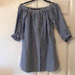 NWOT Zara Striped off the shoulder dress